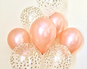 Rose Gold Balloon Bouquet~Rose Gold First Birthday~Rose Gold Wedding~Bridal Shower~Birthday~Rose Gold Balloons~Gold Confetti Look Balloon