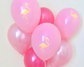 Pink Flamingo Latex Balloons~Flamingo Party~Lets Flamingle~Bachelorette Ballons~First Birthday~Pink Party Decor~Pink Balloons~Pink and Gold