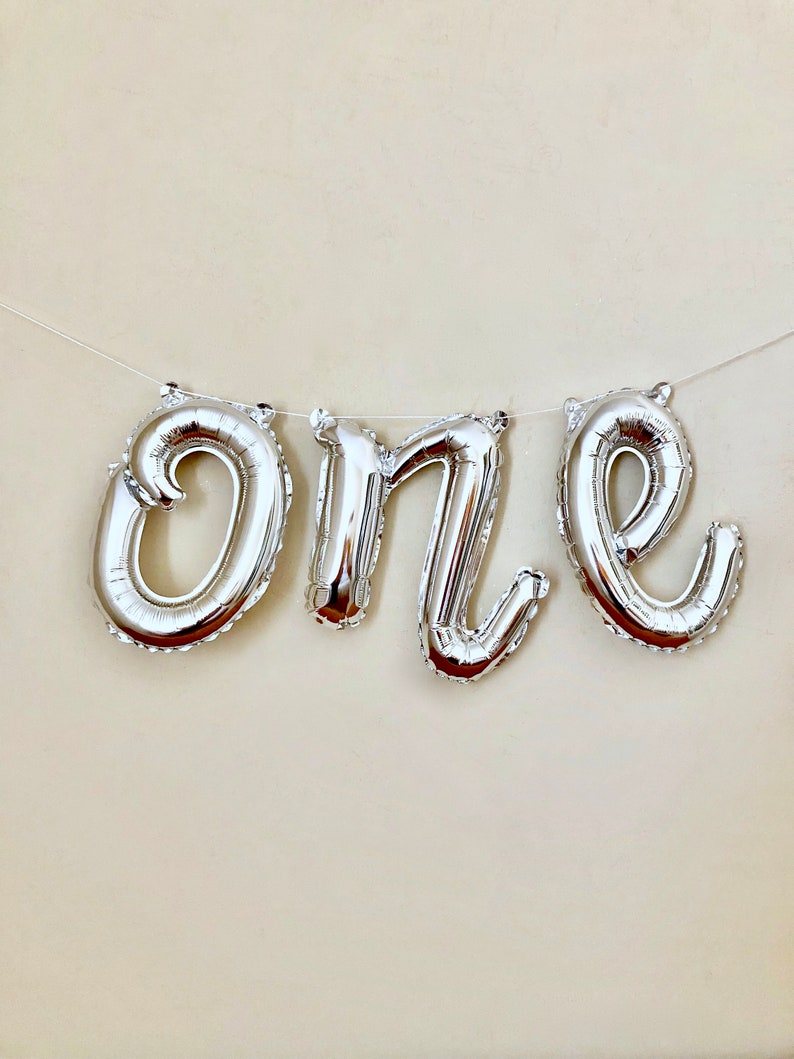 One Script Silver Letter BalloonFirst Birthday