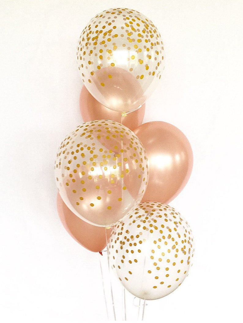Rose Gold and Clear Gold Confetti Latex BalloonsFirst image 0