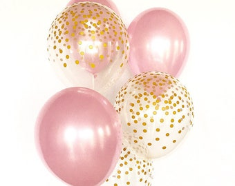 Pink and Gold Confetti Look Latex Balloon~Pink & Gold First Birthday~Baby Shower~Bridal Shower~Wedding~Pink Gold Decor~Gold Confetti Balloon