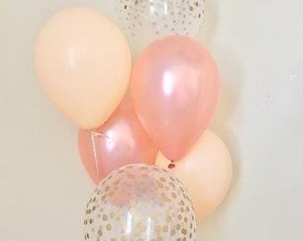 Rose Gold Blush & Clear Gold Confetti Latex Balloon~Birthday~Wedding~Bridal Shower~Rose Gold Balloon~Gold Confetti Balloon~Blush Balloons