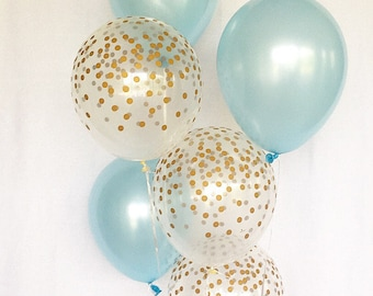 Light Blue and Gold Confetti Latex Balloons~Blue Gold First Birthday~Baby Shower~Bridal Shower~Wedding~Its a Boy~Gold Confetti Look Balloon