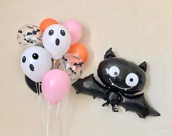 Halloween Balloons~Bat Balloon~Ghost Face Balloon~Halloween Party Decorations~Halloween Balloons~Pink Orange and Black Halloween Balloons