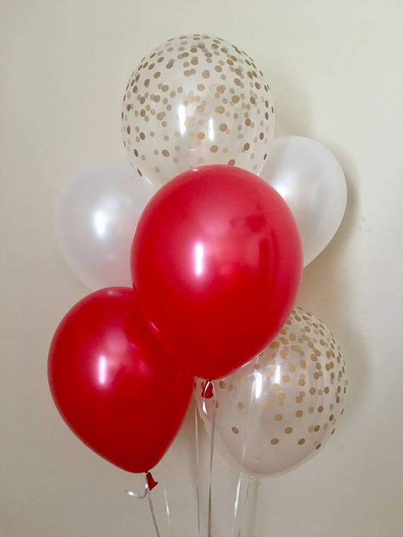 Red White and Gold Confetti Look Latex Balloon~Red /& Gold Birthday~Baby Shower~Bridal Shower~Wedding~Red Gold Decor~Gold Confetti Balloon