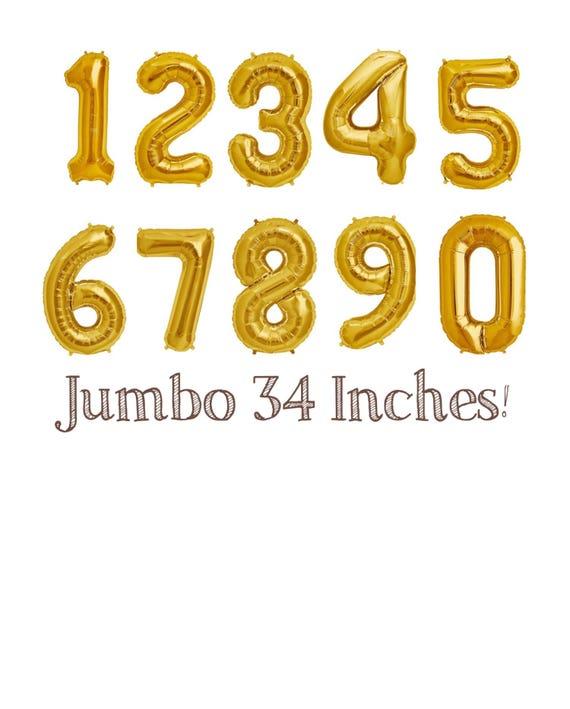 Gold 34 Jumbo Number BalloonsNumber BalloonsBirthday Balloons