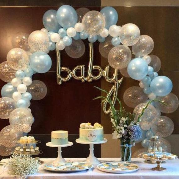 Balloon Garland DIY Kit Blue White Gold Confetti BalloonsBoy First Birthday Party DecorBaby ShowerGarlandBaby Decorations