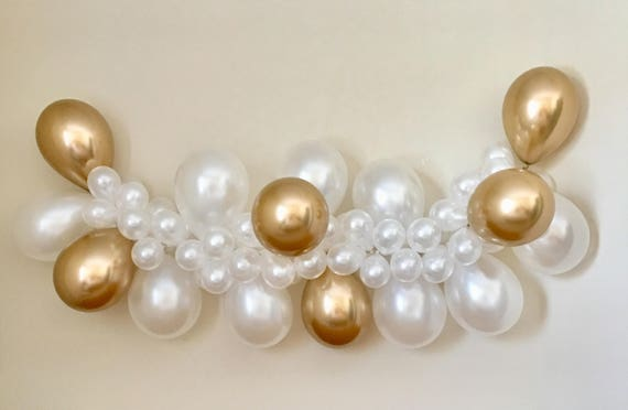 Balloon Garland DIY Kit White and Gold Chrome Balloons