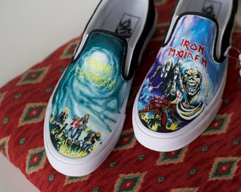 319b2502def84a Custom Hand-Painted Iron Maiden Vans Shoes