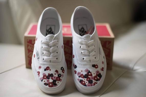 Custom Hand Painted Floral Vans Shoes