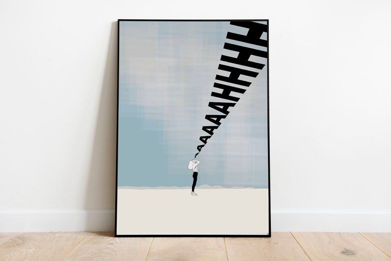 1 of 10 Aaaaaaahhhhhh Shouting Wall Print Signed and Numbered High Quality CMYK Print on A4 300GSM