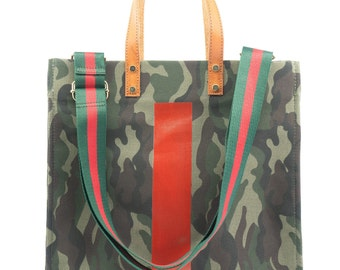 Army Green Camouflage Pattern Fashion Womens Multi-Pocket Vintage Canvas Handbags Miniature Shoulder Bags Totes Purses Shopping Bags