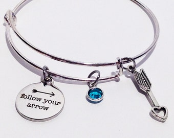 Follow Your Arrow Bracelet, Motivation Jewelry, Graduation Gift, Graduation Gift for her, Graduation Gifts for Girls, Stainless Steel Bangle