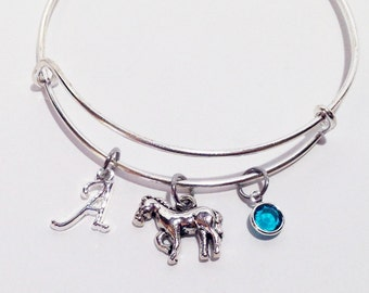 Horse Jewelry, Horse Lover, Horse Bangle, Equestrian Bracelet, Horse Bracelet, Initial Bracelet, Horse Charm Bracelet, Personalized Jewelry