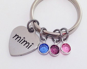 Mothers Day Gift for Grandma, Mimi Gift, Mimi, Gifts for Mimi, Mothers Day, Personalized Mimi Gifts, Birthstone Keychain Gifts for Mimi Nana