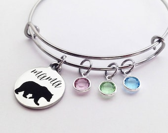 Mama Bear Bracelet, Mom Gifts, Mothers Day Gift for Mom Birthstone Bracelet, Mom Birthstone Bracelet Mom Birthday Gift, Jewelry Personalized
