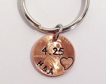 Anniversary Gift for Boyfriend, Anniversary Gift for Husband, Anniversary Keychain, Anniversary Gift for Men, Husband Gift, Penny Keychain