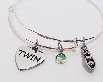 Twin Sister Gift Twins Birthday Jewelry Bracelet Two Peas In A Pod