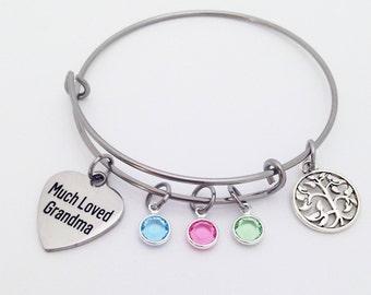 Grandma Gift, Grandma Bracelet, Mothers Day Gift for Grandma, Grandma Birthstone Bracelet, Grandma Mothers Day Gift, Grandma Jewelry Bangle