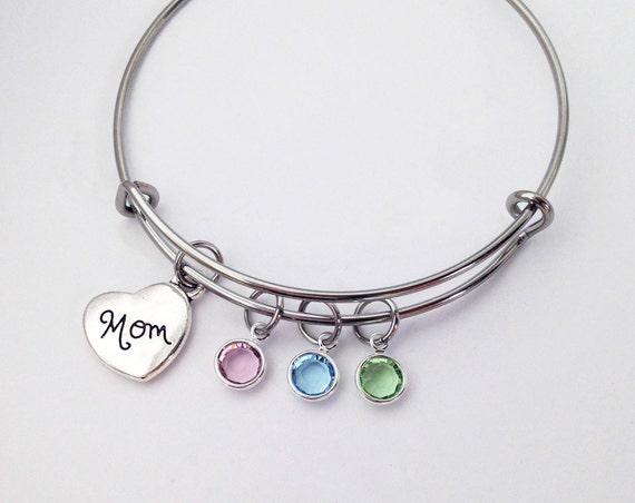 Birthday Gift for Mother Personalized Kids Birthstone Bracelet Sterling Silver Gift for Mom Family Bracelet Mothers Day Gift SB1028