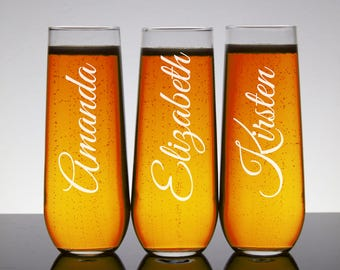 Stemless Champagne Flutes, Engraved Personalized Champagne Glasses, Gifts for Bridesmaids, Bridal Party, Etched Glasses, Wedding Party