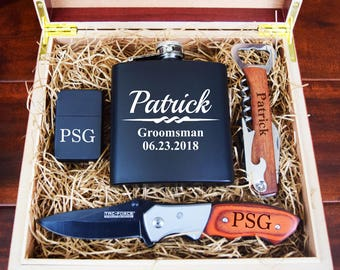 Groomsmen Gift Box, Complete Groomsman Gift Set, Lighter, Flask, Corkscrew Bottle Opener, Pocket Knife, Humidor, Rustic Vintage Wood Box