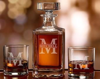Whiskey Decanter Set, Personalized Split Letter Monogram Set, Initials, Whiskey Bourbon Decanter, Etched Rocks Glass, Monogrammed, Weddings