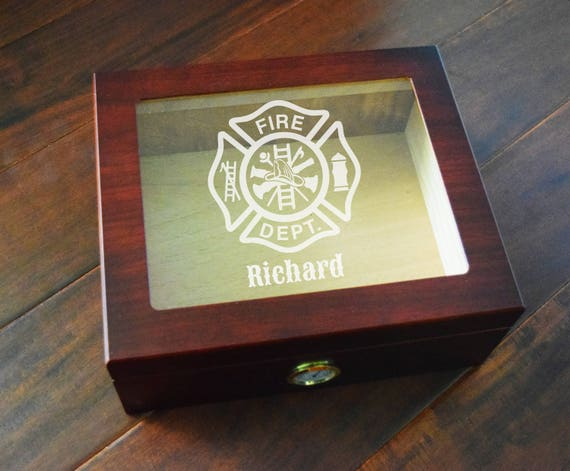 Firefighter Humidor Cigar Box Fireman Gifts Personalized Etsy