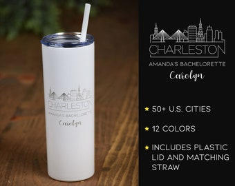 Bridesmaid Tumblers, City Skyline Tumblers, Bridal Party Cups, Bachelorette Party, Personalized Skinny Steel Tumbler, Tumblers with Straws