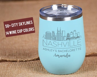 Bridesmaid Wine Cups, City Skyline Wine Tumblers, Bridal Party Cups, Bachelorette, Personalized Skinny Tumbler, Stainless Steel Tumblers