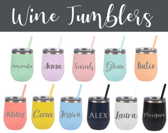 Personalized Wine Tumblers, Custom Wine Cups, Tumblers and Straws, Party Supplies, Craft Supplies, Engraved Tumblers, Bachelorette Cups