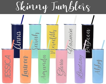 Personalized Skinny Tumblers, Tumblers and Straws, Party Supplies, Craft Supplies, Engraved Tumblers, Crafting Supplies, Bachelorette Cups