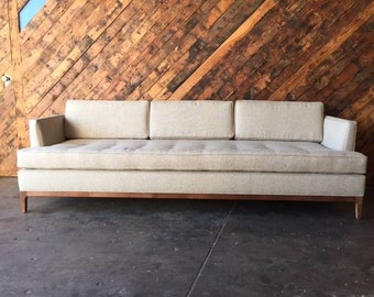 Mid Century Style Oatmeal Custom Sofa