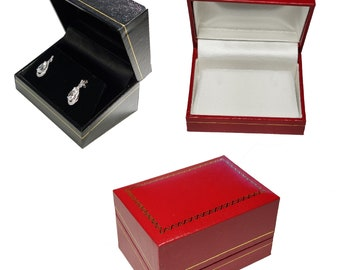33e8d175d Small Earring Box Jewelry Gift Organizer Display leatherette Box Wholesale  Black Red Box Classic Chain necklace box jewelry storage