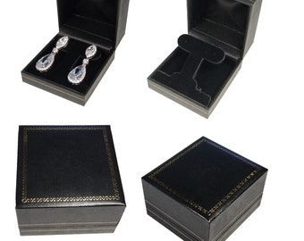 Black Half Moon Velvet Necklace Gift Box Gold Trim Display Case