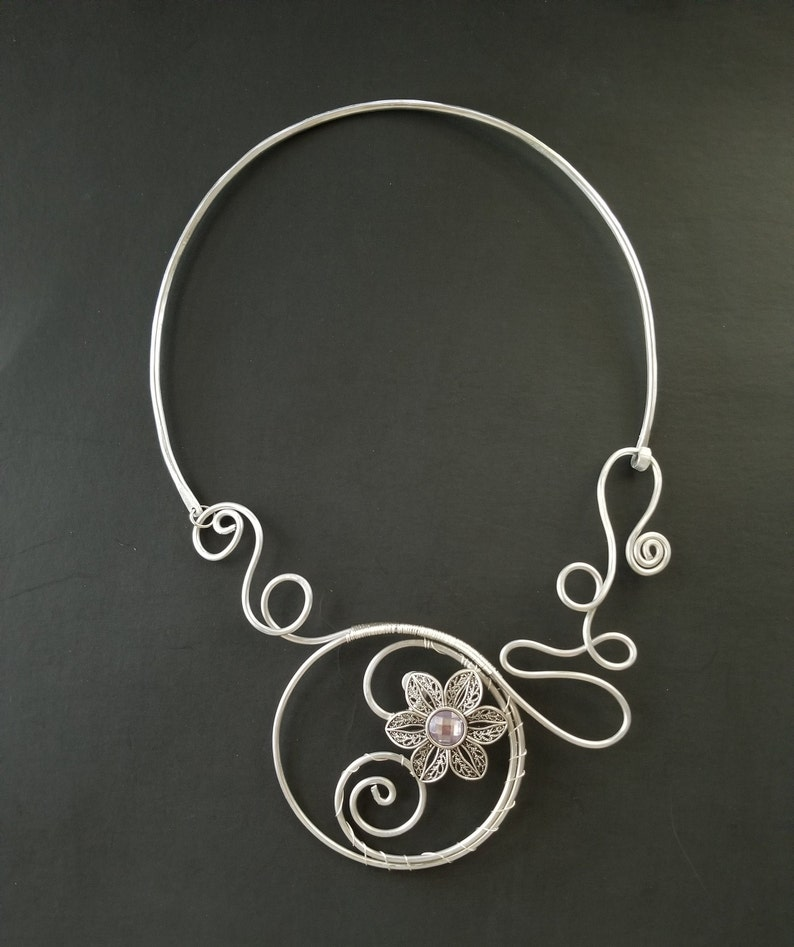 Aluminum wire Necklace Handmade Jewelry Unique Artistic Unusual Gift for Her Bib Necklace Flower Wire Wrapped