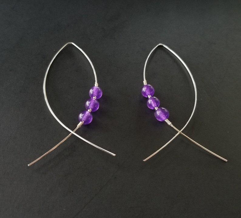 Handmade Purple Bead Earrings Fish shape Dangle Drop Statement Earrings Simple Minimalistic Women/'s Girls/'