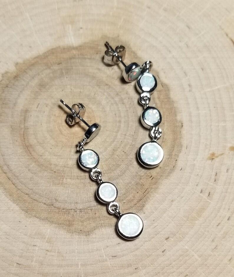 925 Sterling Silver Opal Earrings Created Fire Opal Dangle Drop Earrings