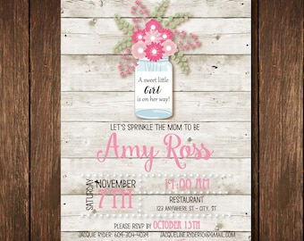 Mason Jar Sprinkle Baby Shower Invitation - Custom Digital Copy