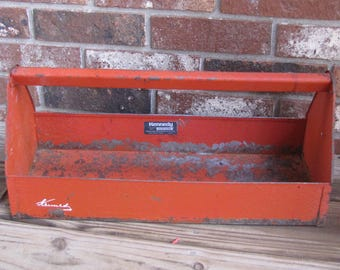 Vintage Red Toolbox, Kennedy Tool Caddy, Rusty Red Handled Caddy, Patina Red Metal Toolbox, Rusty Metal Toolbox, Industrial Toolbox