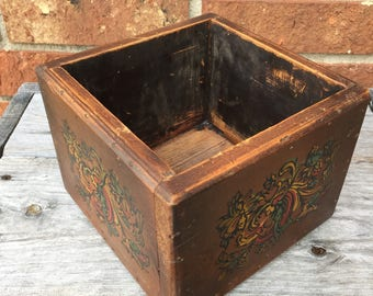 Brown box, wood mail box, man box, man cave box, distressed wood box, stenciled wood box, flower box, succulent plant holder, candle holder