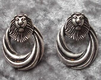 Vintage Silver-Tone Lion Head Earrings