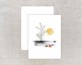 Greeting Card - Sunset - 4 x 5.5 inches - Watercolor Notecard