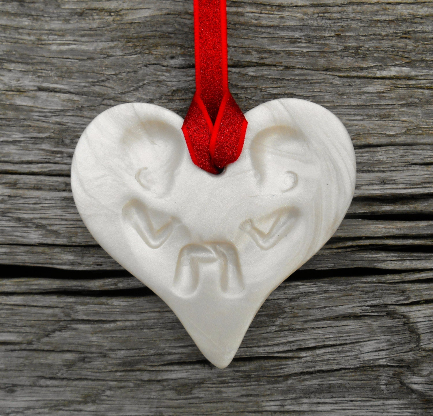Baptism Heart Ornament: Twin First Christmas Ornament Twin Valentine Pregnancy