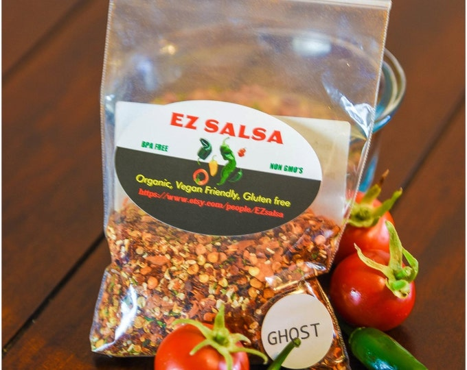 GHOST Pepper Extra Hot EZ Salsa. Organic. Vegan and paleo friendly. No preservatives. Gluten Free