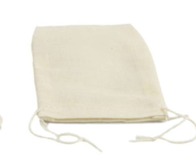 100% cotton Unbleached Muslin bags for Tea Spices Coffee or Stevia or soups and stew spices set of 6 Washable