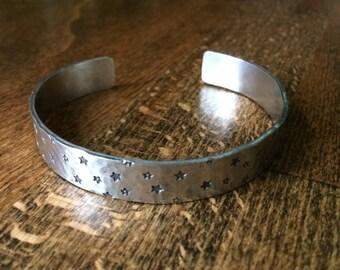 Star Handstamped Pewter Cuff Bracelet, 6 inches