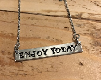 Enjoy Today Bar Necklace, 17 3/4 inches, pewter & stainless steel