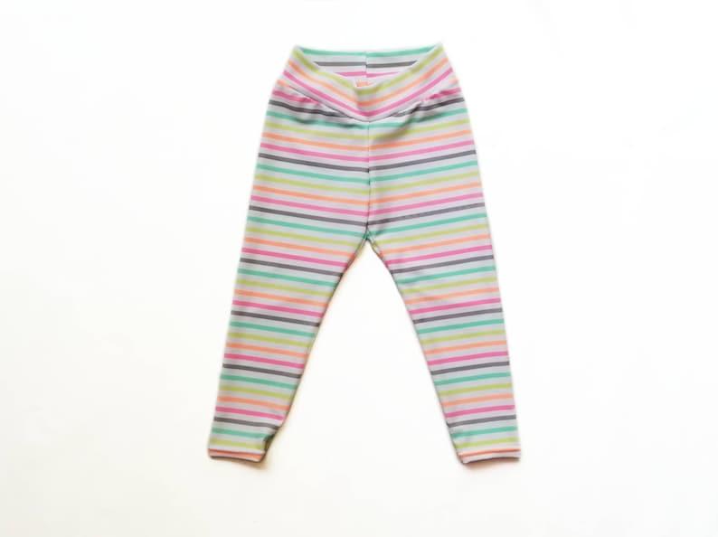 8510a5f5fb620 Neon Stripe Leggings Girls Rainbow Legging Infant Leggings | Etsy