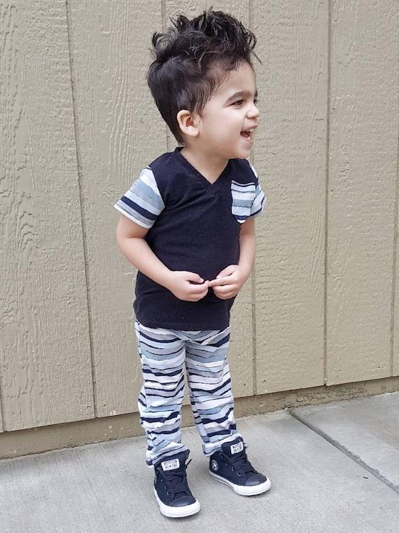 ad19545ca Boys Stripe Pants and Black V Neck Pocket Tee Outfit Set | Etsy